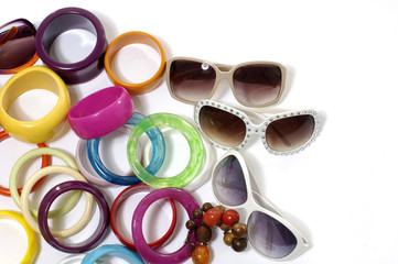 Fashion colorful bangles and sunglass