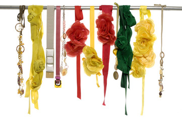 Colorful artificial flower made of silk and belt