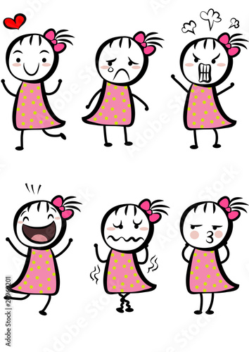 different expressions of a cute cartoon girl