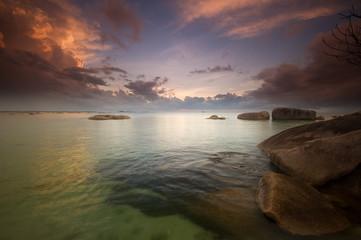 sunset time at tanjung tinggi belitung indonesia