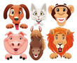 Animals portrait. Cartoon and vector isolated characters.