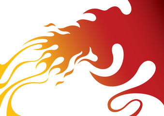 Designed stylized fire artistic banner.