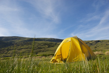 Low Angle View of Yellow Tent in Field