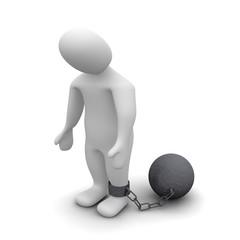 Punished criminal. 3d illustration isolated on white.