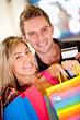 Happy shopping couple
