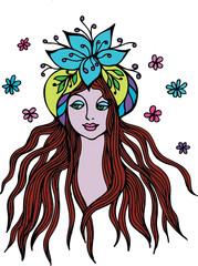 fantasy woman with flowers