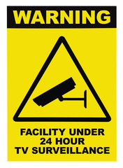 Facility protected by video surveillance text yellow sign