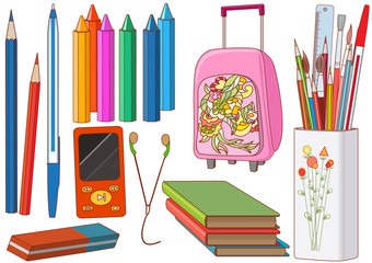 School supplies with backpack, pencils, books, crayons