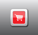 Red shopping button vector