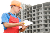 Builder inspector at construction area poster