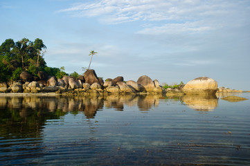 peaceful morning reflection at belitung indonesia