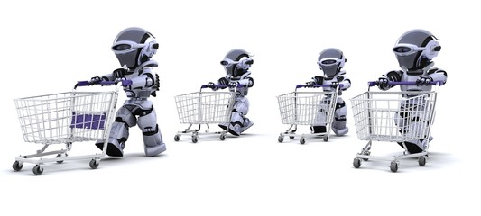 robots running with shopping carts