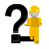 helpless employees in yellow with a question mark poster