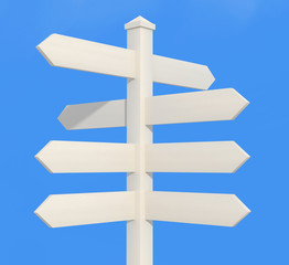 white directional sign post