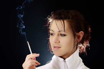 Beautiful woman smoking