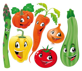 Vegetable family. Funny cartoon and vector characters.
