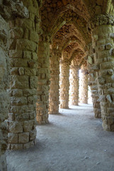 Columns and arches at park Guell, Barcelona, Spain