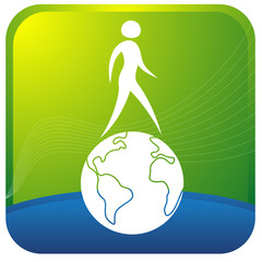 human walking on the globe