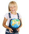 Back to School.Little Schoolgirl with globe