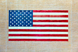 stars ans stripes painted on a old adobe wall poster