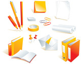 Stationery, office supply items, isolated objects. Vector