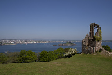 The view over Plymouth from Mount edgcumbe folly