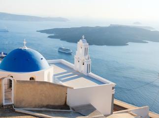 Blue domed church in Santorini