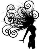Fototapety silhouette of beautiful girl with long wavy hair. Vector female for beauty salon or tattoo