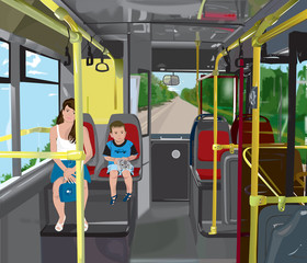 Mother and son riding the bus