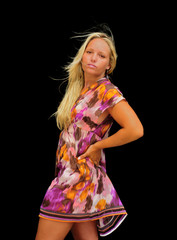 Pretty Girl in Sundress -  Isolated on black background