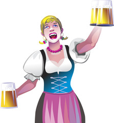 The waitress with beer in a national suit