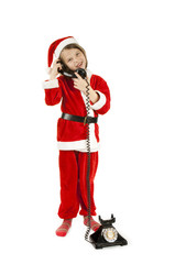 elf talking to Santa over vintage phone