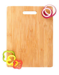 Cutting board with sliced veggies