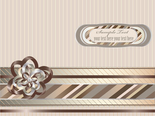Decorative striped background with ribbon, bow and label.