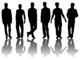 6 silhouettes of men /1