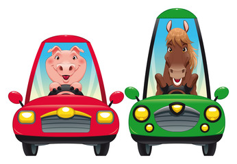 Animals in the car: Pig and Horse. Vector illustration