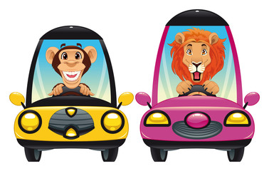Animals in the car: Monkey and Lion. Vector isolated characters.