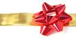 noeud rouge sur ruban doré décoration cadeaux, fond blanc