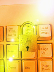 Padlock on a computer keyboard