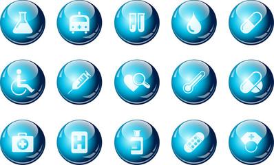 Healthcare and Pharma icons cyan crystal Series