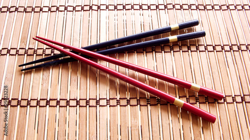 Chopsticks on the Bamboo mat