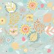 Seamless floral pattern autumn