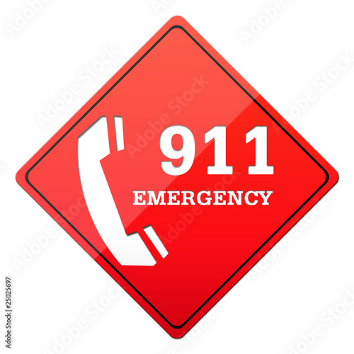 dial 911, emergency button, red sign