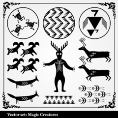 Mystic Vector background with symbols from Africa