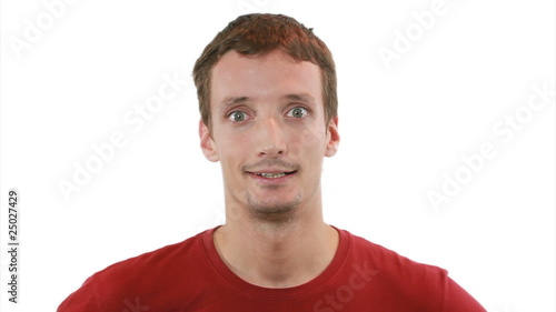 WHEW! -Guy breathing freely ( funny ) - white background