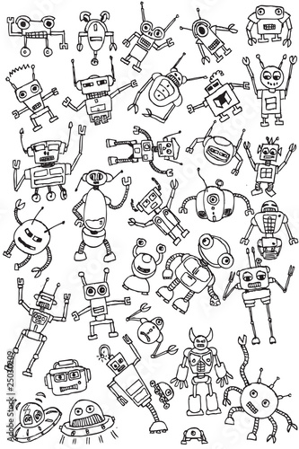 hand draw robots icon collection vector