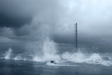 stormy sea with big waves