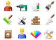 Set of universal work tool icons.