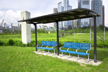 seat in the park in the city