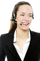 young businesswoman with headset on white background studio